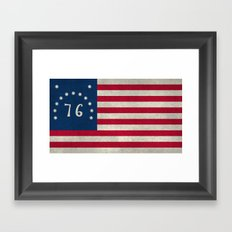 American Bennington flag - Vintage Stone Textured Framed Art Print