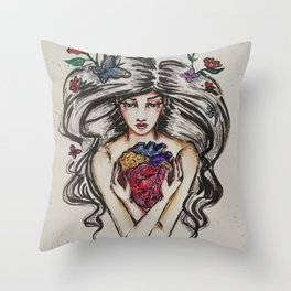 be still my beating heart anitomical love valentine tattoo brunette Throw Pillow