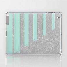 Soft cyan stripes on concrete Laptop & iPad Skin