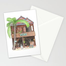Tropical island hut with palm, travel sketch from Koh Rong island, Cambodia Stationery Cards