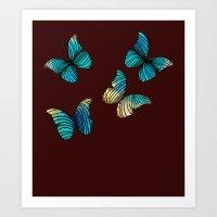 butterflies Art Prints featuring Butterflies by Brontosaurus