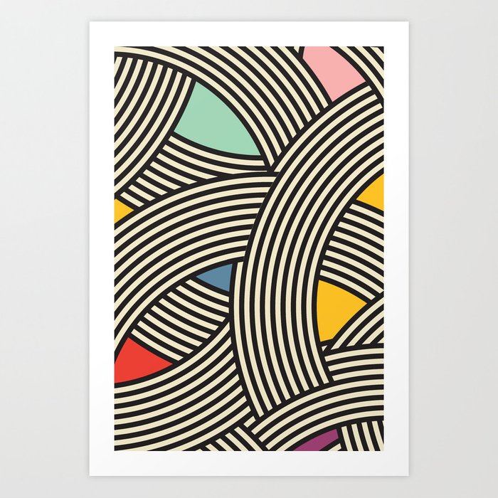 Modern Scandinavian Multi Colour Color Curve Graphic Art Print By Seasonofvictory Society6