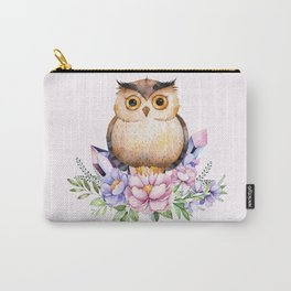 Bohomian Animal Illustration- Be Wise Little Owl Carry-All Pouch