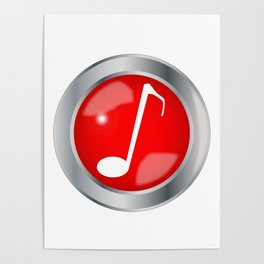 Red Musical Note Button Poster