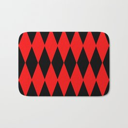 LARGE RED AND BLACK  HARLEQUIN DIAMOND PATTERN Bath Mat