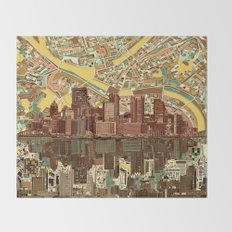 pittsburgh city skyline Throw Blanket