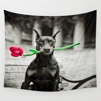 doberman Wall Tapestries featuring Valentine by Paw Prints By Jamie