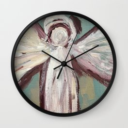 Impressionistic Angel #2 Maroon & Ivory Wall Clock
