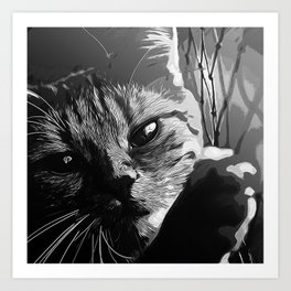 set your cat free vector art black white Art Print