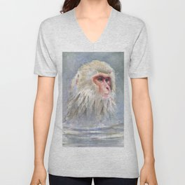 Snow Monkey Watercolor Animal Unisex V-Neck