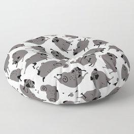 Peppy Black Pug pattern - black and white Floor Pillow