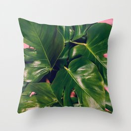 Monstera leaves flat lay Throw Pillow