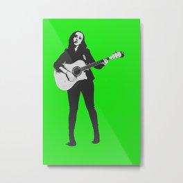 You Rock Girl in Green Metal Print