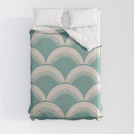 Japanese Fan Pattern Foam Green and Beige Duvet Cover