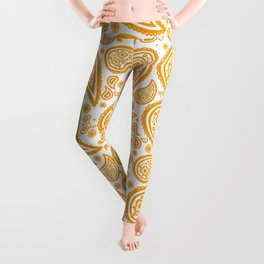 Paisley (Orange & White Pattern) Leggings