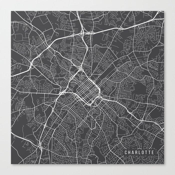 Charlotte In Usa Map.Charlotte Map Usa Gray Canvas Print By Mainstreetmaps Society6
