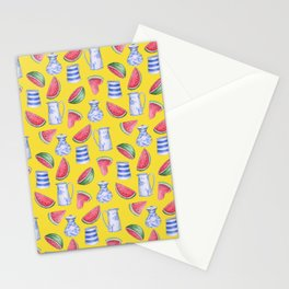 Melons and Jugs Pattern Yellow Stationery Cards