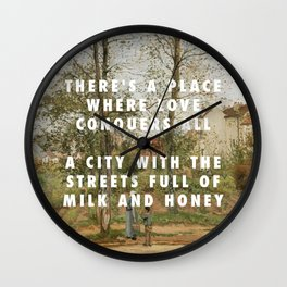 Camille Pissarro, Houses at Bougival (Autumn) (1870) / Halsey, Good Mourning (2017) Wall Clock