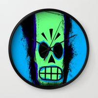 grim fandango Wall Clocks featuring Manny Calavera, Blue version (Grim Fandango) by acefecoo