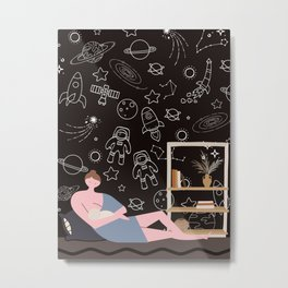 Mommy bring me to the moon and back Metal Print