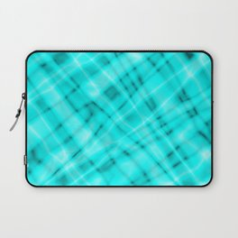 Pastel metal mesh with light blue intersecting diagonal lines and stripes. Laptop Sleeve