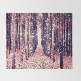 Millennial Pink Magical Forest Throw Blanket