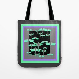 FLIGHT OF GREEN DRAGONFLIES VIOLET-GREY ART Tote Bag