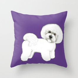 Bichon Frise dog on Ultraviolet, 2018 Bichon , Year of the dog, Pantone Ultraviolet Throw Pillow