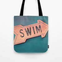 swim Tote Bags featuring swim by Sylvia Cook Photography