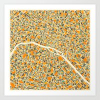 chicago Art Prints featuring Paris Map by Jazzberry Blue