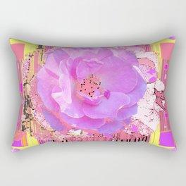 Coral Pink Rose Pattern Art Rectangular Pillow