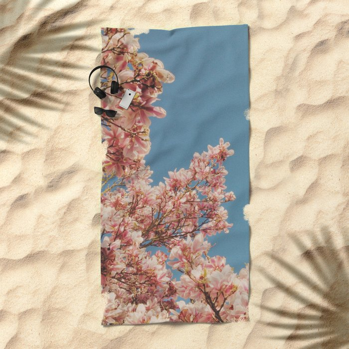 Pink Blossoms Beach Towel