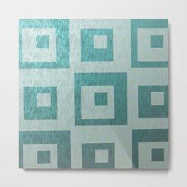 Retro,1950's pattern,geomtric,metallic,teal,tourquise,beautiful,glam,elegant,chic,vintage,pattern Metal Print