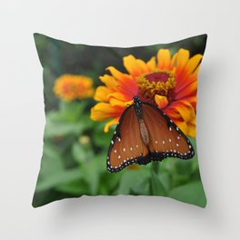 Buterfly and Zinnea Throw Pillow