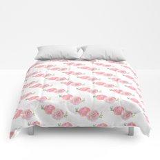 Pink Watercolor Ranunculus print w/grunge Comforters