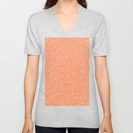Melange - White and Dark Orange Unisex V-Neck
