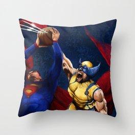Wolverin Blocks Super man Throw Pillow