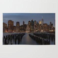Manhattan New York at Night Rug