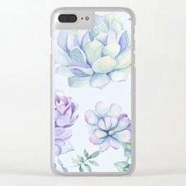 Wonderful Succulents Light Blue Clear iPhone Case