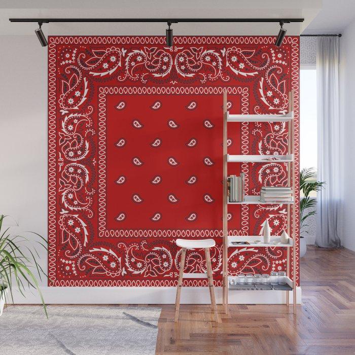 Paisley - Bandana - Red - Southwestern - Boho Wall Mural