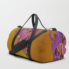 Shiny Purple Butterflies On A Ocher Color Background #decor #society6 Duffle Bag
