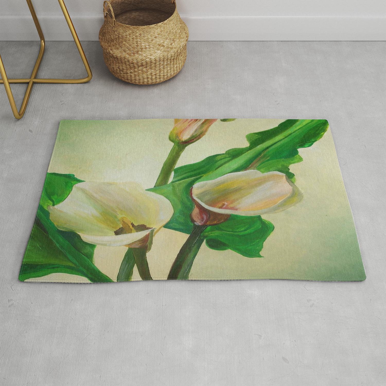 Three Calla Lilies Rug By Taiche Society6