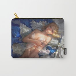 Super Pretty Blonde Sailor Moon Undressing Lingerie On Bed Ultra HD Carry-All Pouch