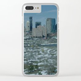 Snow Melting City View Clear iPhone Case