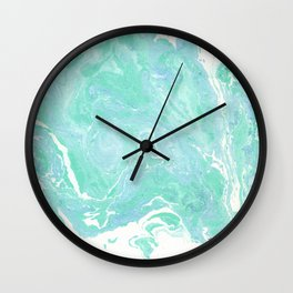 Marble texture background, white blue green marble pattern Wall Clock