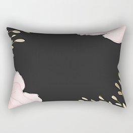 Pink flower Black background Rectangular Pillow