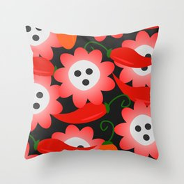 Red flowers and peppers Throw Pillow