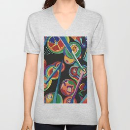 Colorful Abstract Fruit Unisex V-Neck