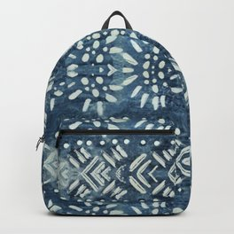 Vintage indigo inspired  flowers and lines Backpack