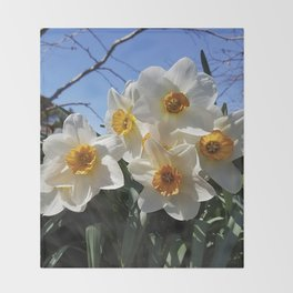 Sunny Faces of Spring - Gold and White Narcissus Flowers Throw Blanket